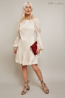 Little Mistress Paula Check Satin Mini Dress With Drop Waist And Frill Hem
