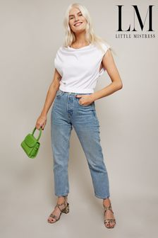 Little Mistress Kelly White Cropped T-Shirt With Cowl Neck And Shoulder Pads
