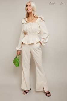 Little Mistress Edie Ivory Pinstripe Trouser With Tailored Wide Leg