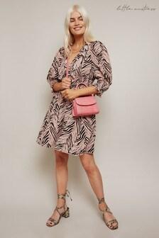 Little Mistress Nancy Black Zebra Print Mini Skirt With Ruching