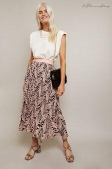 Little Mistress Ava Black Zebra Print, Pleated Midi Skirt With Ruching