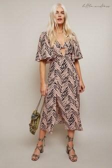 Little Mistress Jamie Black Zebra Print Midi Dress With Knot At Bust