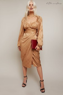 Little Mistress Maggie Camel Satin Wrap Skirt