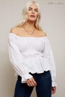 Little Mistress Jersey White Poplin Bardot Top