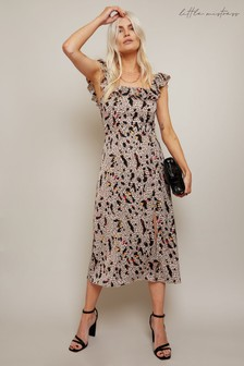 Little Mistress Connie Ivory Print Midi Dress With Square Neck And Thigh Split