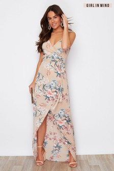 Girl In Mind Mia Wrap Maxi Dress Beige Floral Print