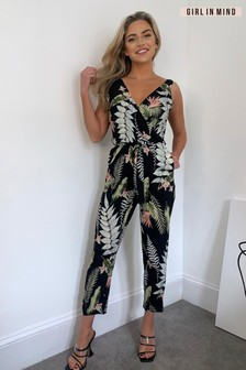 Girl In Mind Printed Straight Leg Jumpsuit