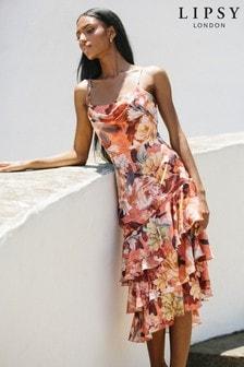 Lipsy Printed Cowl Neck Dress