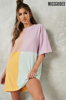 Missguided Oversized Tshirt Dress Short Sleeve Colour Block