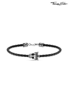 Thomas Sabo Black Leather and Sterling Silver Bracelet with Skull Bead