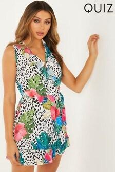 Quiz Tropical Print Wrap Skater Dress