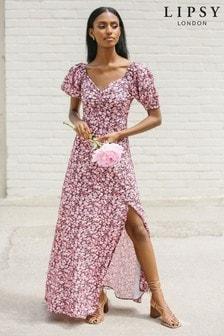 Lipsy Puff Sleeve Sweetheart Maxi Dress