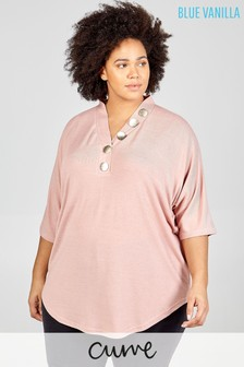 Blue Vanilla Curve Button Front Oversized Top