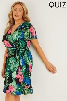 Quiz Curve Tropical Print Midi Dress