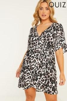 Quiz Curve Animal Print Wrap Midi Dress