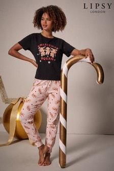 Lipsy Christmas Jersey Short Sleeve Pyjama Set