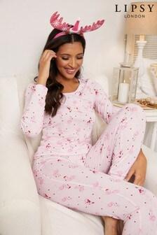 Lipsy Christmas Jersey Long Sleeve Pyjama Set
