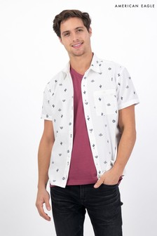 American Eagle Oxford Short-Sleeve Button-Up Shirt