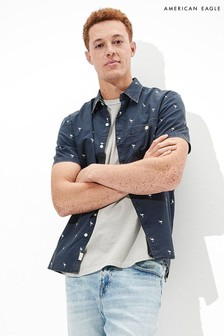 American Eagle Printed Short-Sleeve Button-Up Shirt