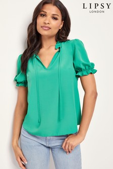 Lipsy Puff Sleeve Tie Neck Blouse
