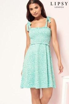 Lipsy Printed Shirred Strap Mini Dress