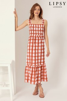 Lipsy Gingham Strap Smock Midi Dress