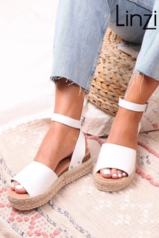 Linzi White Faux Leather Two Part Espadrille Inspired Platform Wedge