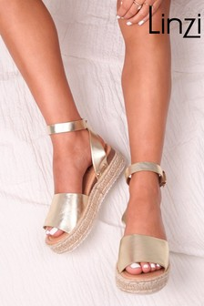 Linzi Gold Faux Leather Two Part Espadrille Inspired Platform Wedge