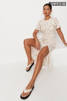 Missguided Ditsy Flutter Sleeve Midi Dress