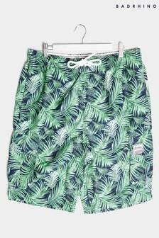 BadRhino Leaf Print Cargo Swim Shorts