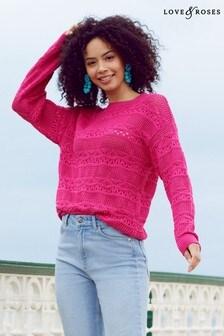 Love & Roses Pointelle Knitted Jumper