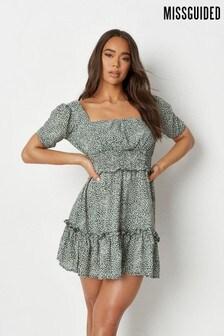 Missguided Shirred Waist Tiered Dress