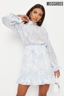 Missguided High Neck Keyhole Floral Dress