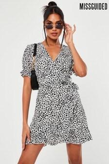 Missguided Puff Sleeve Ruffle Hem Tea Dress