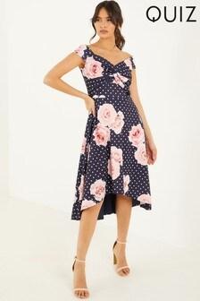 Quiz Floral Dip Hem Dress