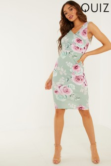 Quiz Floral Wrap Midi Dress