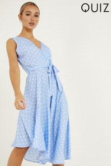 Quiz Polka Dot Asymmetrical Midi Dress