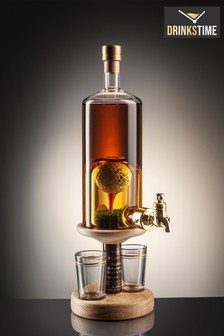 DrinksTime Stylish Whisky Spirit of Scotland Golf Ball on Tee Single Malt Scotch Whisky Decanter with Tap & Two Glasses