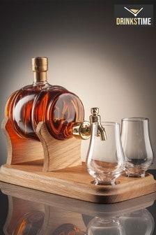 DrinksTime Stylish Whisky Spirit of Scotland Barrel Single Malt Scotch Whisky Decanter with Tap and Two Glasses
