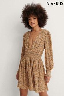 NA-KD Structured Smock Waist Dress