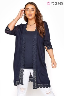 Yours Lace Trim Cardigan