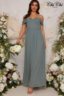 Chi Chi London Bardot Draped Chiffon Bridesmaid Maxi Dress
