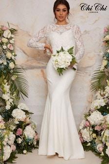 Chi Chi London Long Sleeve Lace Bodice Bridal Wedding Dress