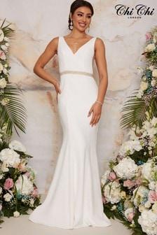 Chi Chi London Sleeveless Plunge Neck Bridal Wedding Dress