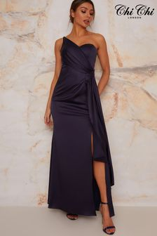 Chi Chi London One Shoulder Satin Maxi Dress In Navy