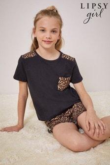 Lipsy Leopard Pocket Frill PJ Set