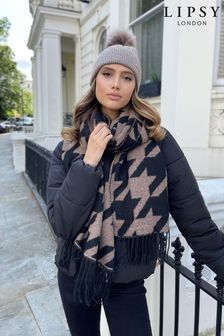 Lipsy Cosy Dogtooth Printed Scarf