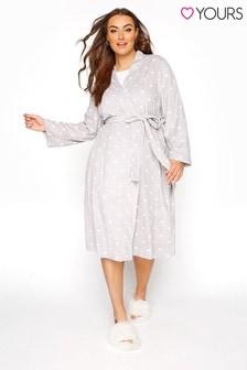 Yours Flannel Fleece Marl Heart Robe