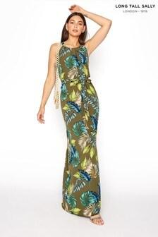 Long Tall Sally Leaf Print Halterneck Maxi Dress