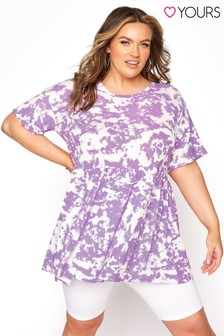 Yours Drop Shoulder Peplum Tie Dye Tunic